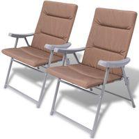 Vidaxl  składane krzesła ogrodowe z poduszkami na siedzenia 2 szt. brązowe (8718475965251)