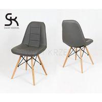 ks009 ciemnoszare krzesło z ekoskóry na drewnianych nogach - ciemnoszary marki Sk design