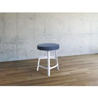 Hoker biały - taboret - krzesło barowe - tapicerowane - HAMBURG mały
