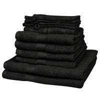 Vidaxl  kompletny zestaw czarnych ręczników bawełna 100% 500 gsm x12 (8718475924715)
