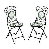 Meble ogrodowe metalowe 2 krzesła z mozaiką flora marki Wideshop