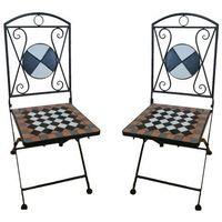 Meble ogrodowe metalowe krzesła z mozaiką szachy marki Wideshop