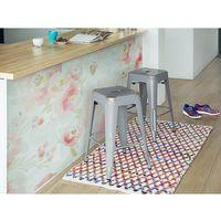 Hoker srebrny - taboret - do jadalni - stołek - 40x40x60 cm - cabrillo marki Beliani