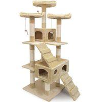Wideshop Wielki drapak dla kota 3 tarasy widokowe beżowy - beżowy