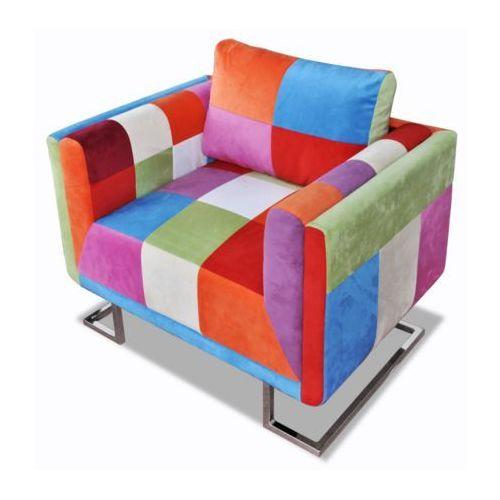 patchworkowy fotel, chromowane nóżki, marki Vidaxl