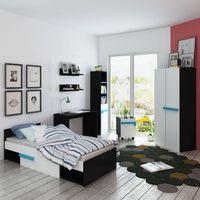 vidaXL Zestaw mebli do sypialni dziecięcej niebieski z materacem 8 elem. (8718476000432)