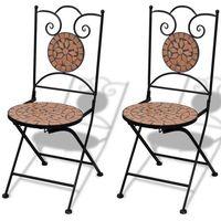 Wideshop Meble ogrodowe metalowe 2 krzesła z mozaiką roma