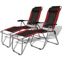 vidaXL Krzesło kempingowe rozkładane 2 szt, czerwono-czarne (8718475965862)
