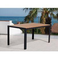 Stół ogrodowy brązowy - meble ogrodowe - aluminium - 150 cm - como marki Beliani