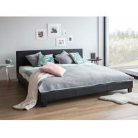 Łóżko czarne - do sypialni - 160x200 cm - podwójne - skórzane - ORELLE, kolor czarny