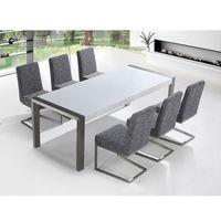 Zestaw mebli stal szlachetna – stół 220 – krzesła do wyboru - arctic i marki Beliani