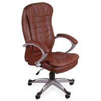 Giosedio Fotel biurowy fabio brązowy z białą nicią