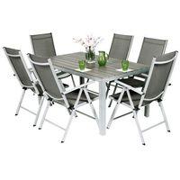 Meble ogrodowe aluminiowe MODENA 6+1 - Srebrny - Srebrny