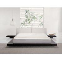 Łóżko ciemnobrązowe - 180x200 cm - łóżko drewniane - styl japoński - ZEN, kolor brązowy