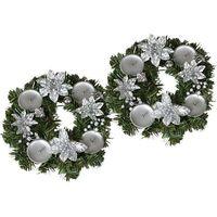 adwentowy wieniec srebrny 2 sztuki wyprodukowany przez Evergreen