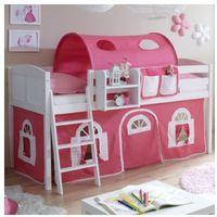 Ticaa łóżko z drabinką eric, białe drewno sosnowe country dworek kolor różowo-biały marki Ticaa kindermöbel