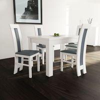 Sandow Biały zestaw rozkładany stół 80/120/165 + 4 krzesła