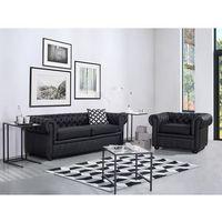Beliani Sofa kanapa skórzana czarna klasyka dom biuro chesterfield