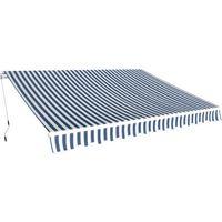 vidaXL Zwijana markiza 3,5x2,5 m w niebieskie i białe pasy
