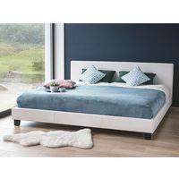 Beliani Łóżko białe - do sypialni - 180x200 cm - podwójne - skórzane - orelle