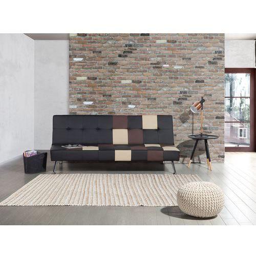 Sofa czarna - rozkładana - patchwork - wersalka - ekoskóra - olsker, marki Beliani
