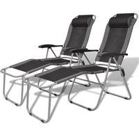 vidaXL Krzesła kempingowe wypoczynkowe 2 szt Szaro-Czarne