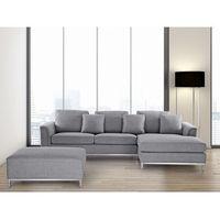 Sofa narożna z pufą w kolorze jasnoszarym l - kanapa tapicerowana - oslo marki Beliani