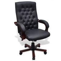 Vidaxl  fotel biurowy chesterfield z czarnej eko skóry