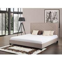 Łóżko beżowe - łóżko tapicerowane - 160x200 cm - marseille marki Beliani
