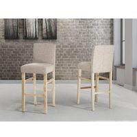 Hoker beżowy - krzesło - do jadalni - do kuchni - tapicerowany - MADISON