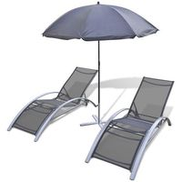 3 - częściowy zestaw leżaków z parasolem, aluminium marki Vidaxl