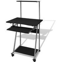Vidaxl  biurko komputerowe z ruchomą półką na klawiaturę (czarne)