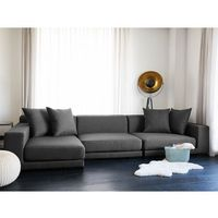 Sofa narożna p - ciemnoszara - tapicerowana - narożnik - cloud marki Beliani