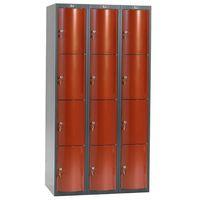 Ekskluzywne szafy osobiste 3x4 schowkim kolor drzwi: czerwony metalizowany marki Aj