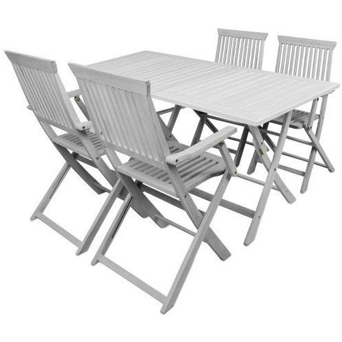 Wideshop Białe meble drewniane ogrodowe 1 stół + 4 krzesła, kategoria: zestawy ogrodowe