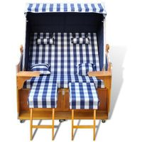 Vidaxl  leżak plażowy, kosz niebiesko-biały, dla dwóch osób.