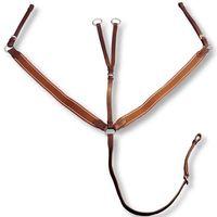 vidaXL Skórzany, elastyczny napierśnik z wytokiem dla dużego konia, brązowy