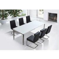 Beliani Zestaw mebli stal szlachetna – stół 220 krzesła do wyboru - arctic ii
