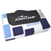 Axer sport Koc piknikowy / plażowy  150 x 130 cm - kratka - niebieski ||szary