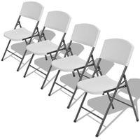 Vidaxl  składane krzesła do ogrodu, białe, 4 szt.