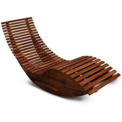 Wideshop Drewniany leżak ogrodowy bujak z drewna akacjowego