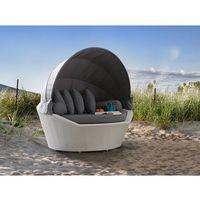 Kosz plażowy biały - ogrodowy - rattanowy - leżanka - sylt marki Beliani