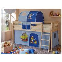 Ticaa kindermöbel Ticaa łóżko z drabinką eric v sosna naturalny, pirat jasnoniebieski- ciemnoniebieski