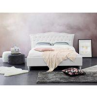 Łóżko białe - 140x200 cm - skórzane - ze schowkiem na pościel - metz marki Beliani