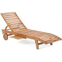 Leżak ogrodowy z drewna egzotycznego na kółkach Akacja Lux (5904730242318)