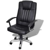 Vidaxl  wysokiej jakości fotel biurowy ze skóry czarny (8718475857167)