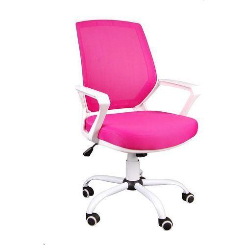 Fotel biurowy FBB różowo-biały z siatką