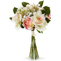 """Sztuczne kwiaty """"bukiet róż""""  kremowo-jasnoróżowo-zielony marki Bonprix"""