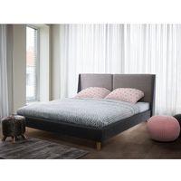 Beliani Łóżko ciemnobeżowo-szare - 160x200 cm - łóżko tapicerowane - valence (7105271591783)