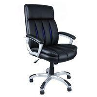 Fotel biurowy czarny z niebieską siatką FBA048